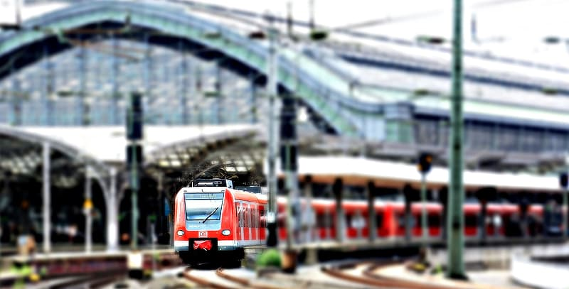 Bokeh shot of red train