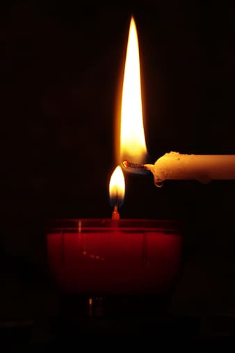 Closeup photo of lighted candles