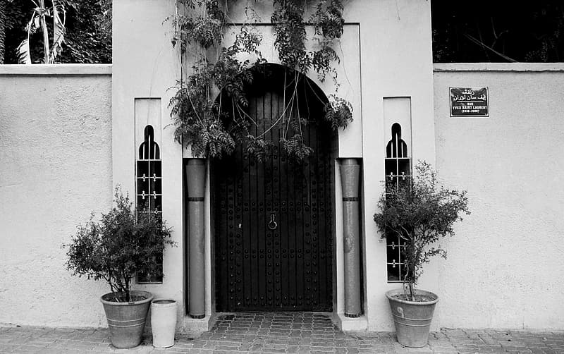 Grayscale photo of a door