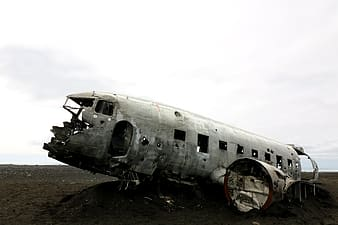 Wrecked aircraft on land