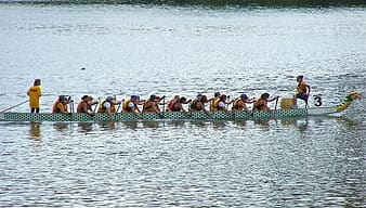 Group of people on dragon boat