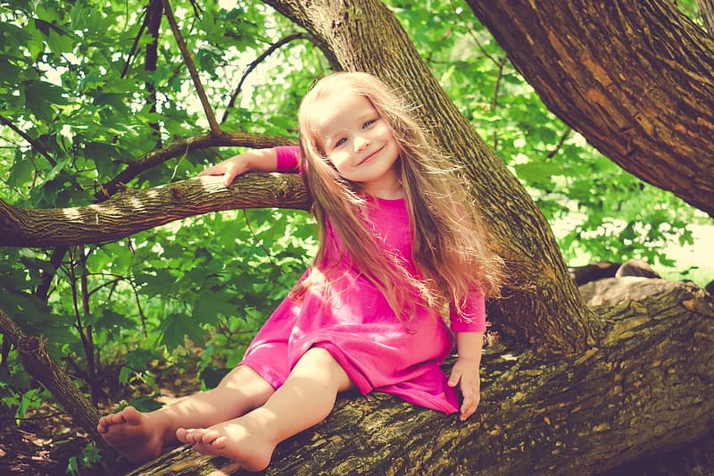 Girl in pink long-sleeved dress sitting on tree