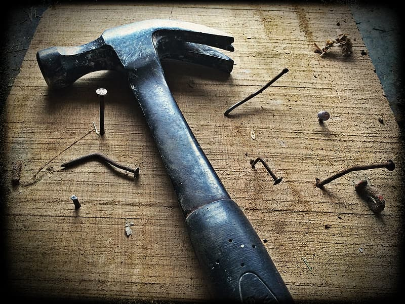 Closeup photo of claw hammer