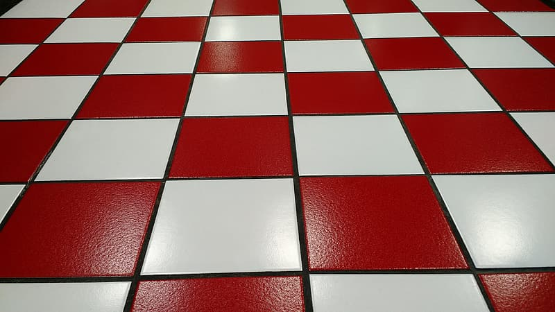 White and red floor tiles