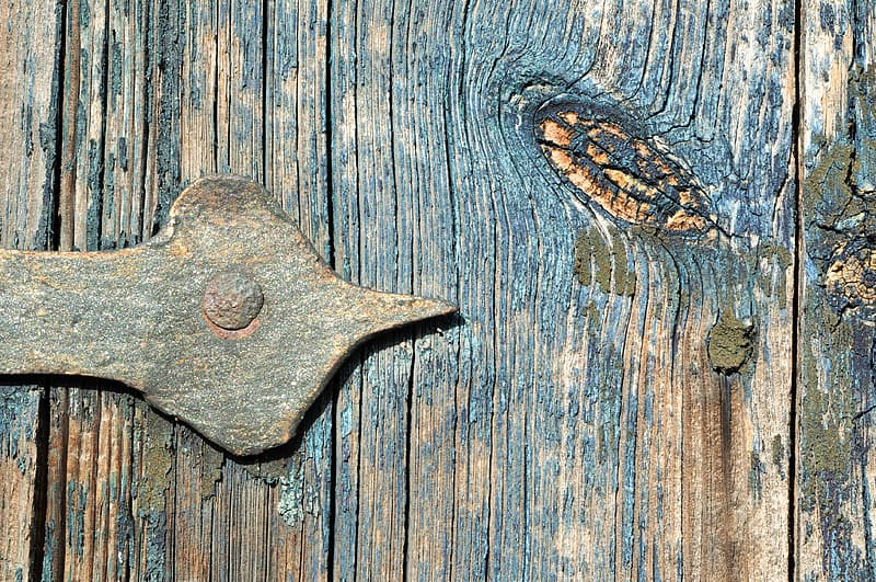 Close up image of blue wooden surface