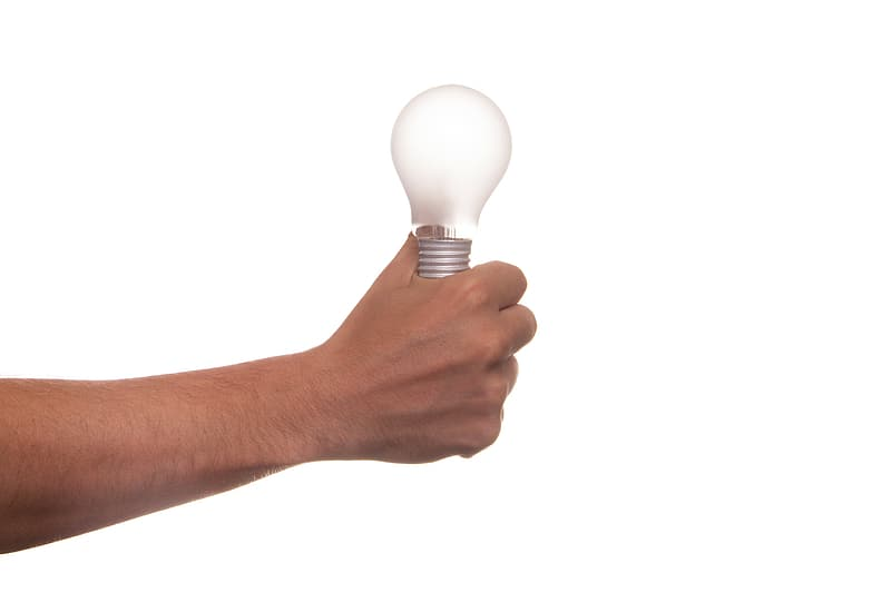 Person holding light bulb