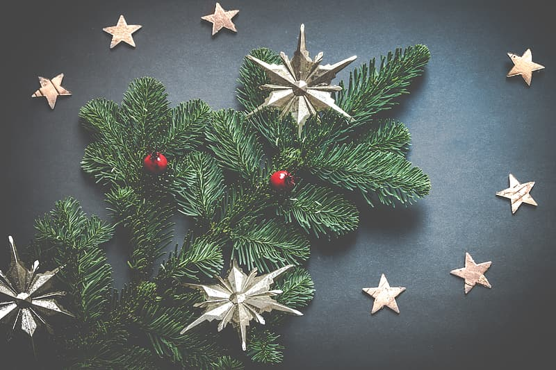 Green and gold Christmas decors on black surface