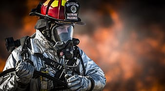 Closeup photo of fire fighter