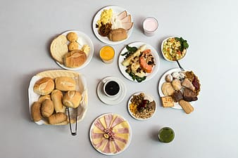 Flatlay photography of variety of foods and drinks