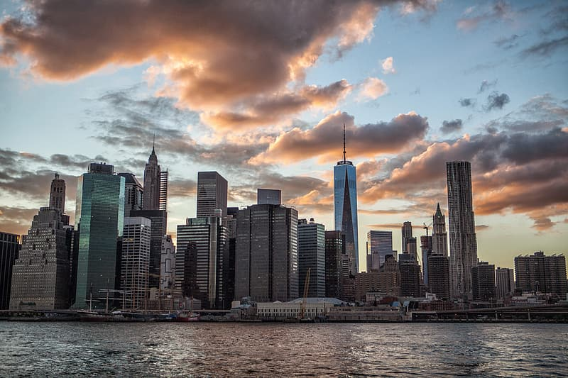 This shot was taken in DUMBO, Brooklyn, and features the lower Manhattan skyline at sunset