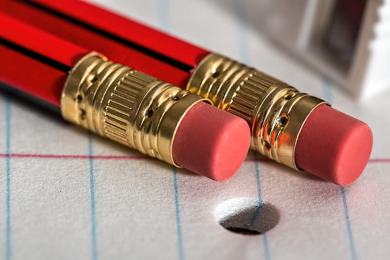Closeup photo of two red pencils