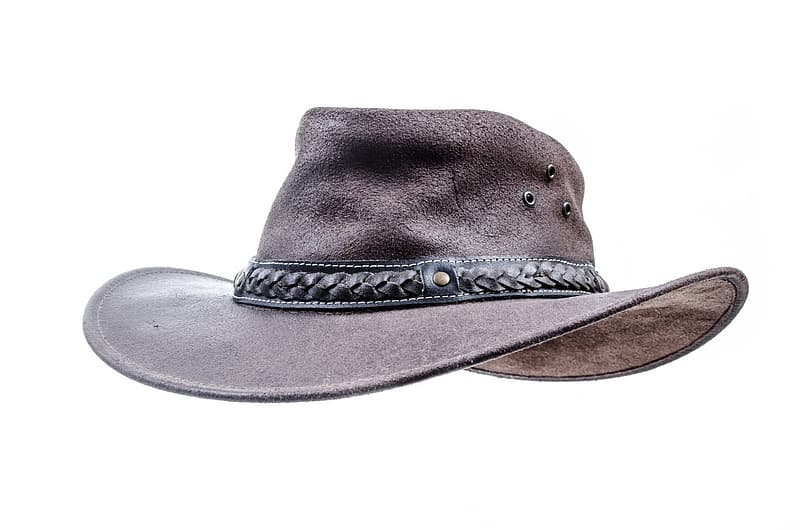 Brown cowboy hat with white background