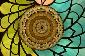 Green, yellow, and brown floral stained glass wallpaper