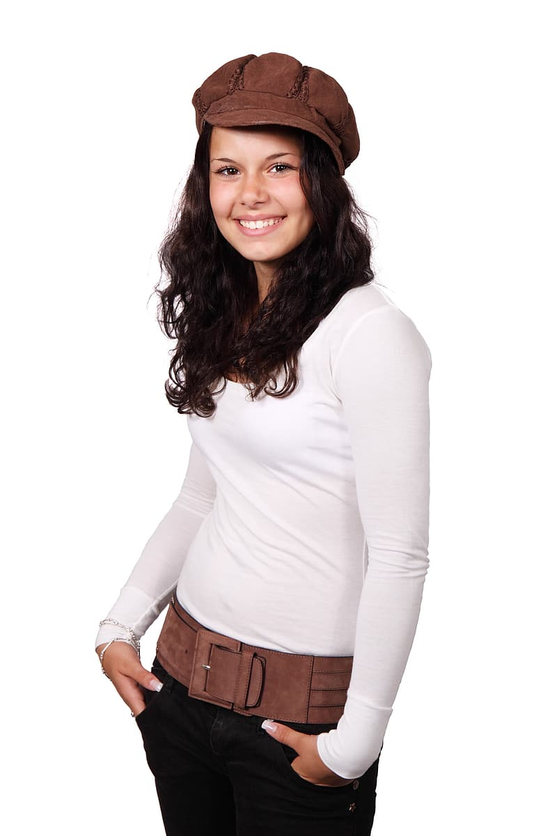 Woman in white long-sleeved shirt and black pants in white background