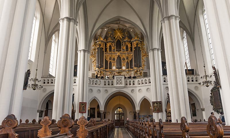 White and brown cathedral interior