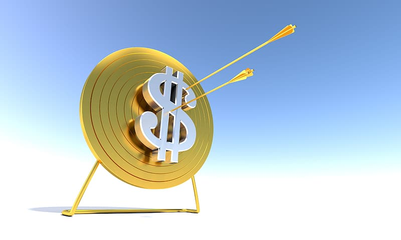 Gold- and silver-colored dollar symbol artwork