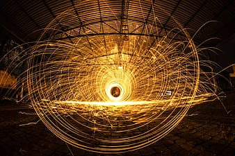 Steel wool photography inside covered court