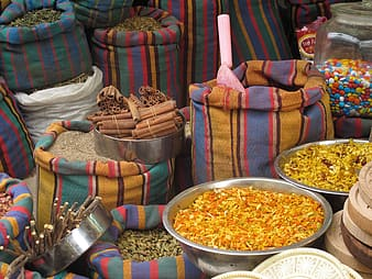 Assorted-color food condiments on sack