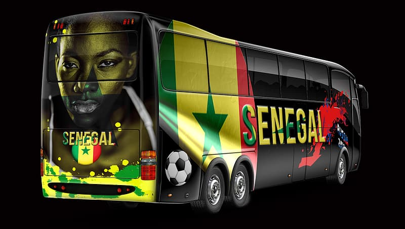 Yellow and black Senagal bus with black background