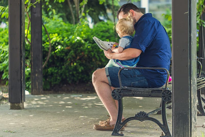 Man and child reading book