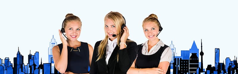 Three woman wearing black headsets