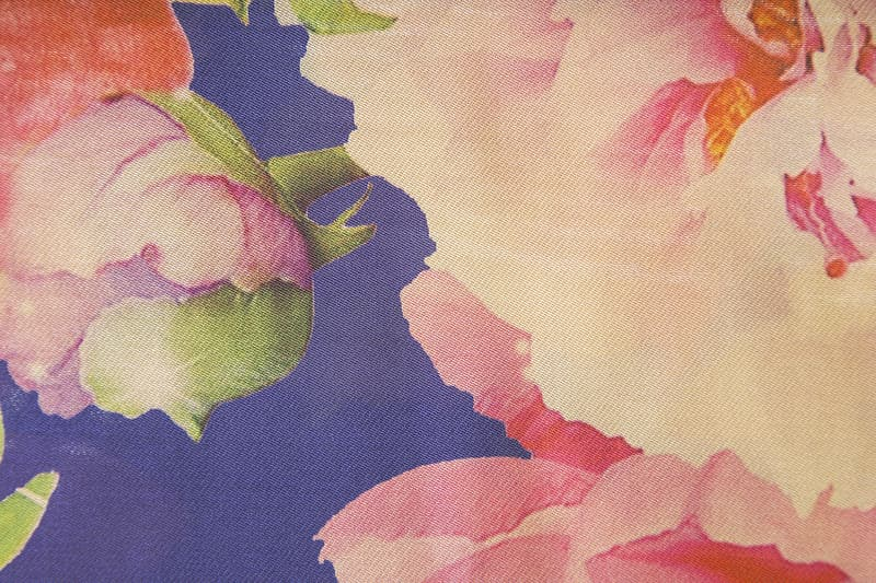 Blue pink and green floral textile