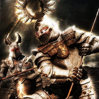 Two knights fighting against gray background