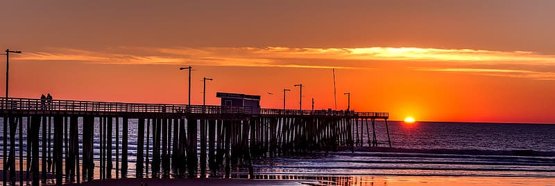 Silhouette of dock on sea during sunset