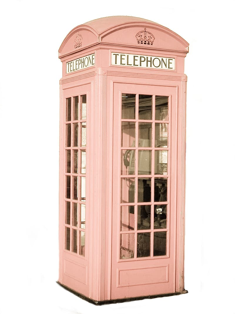 Pink Telephone booth with white background