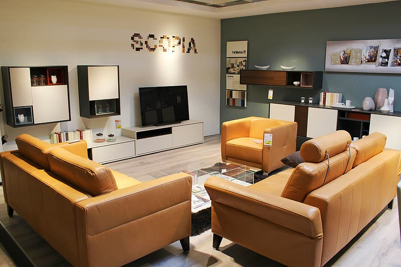 Orange leather sofa set