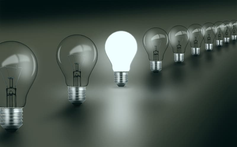 Bright Idea - Standing Out - Concept with Light Bulbs