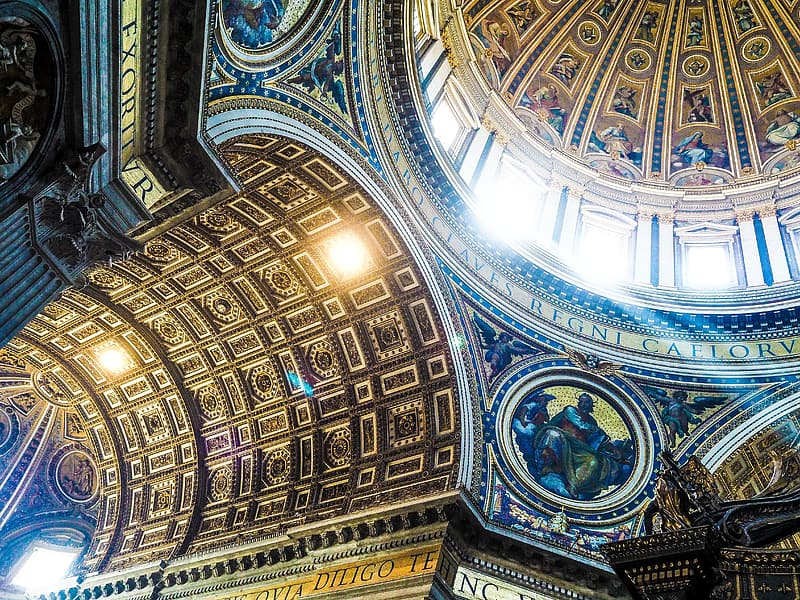Low angle photography of multicolored glass cathedral ceiling interior