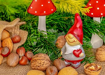 Red and white mushroom figurine on green pine tree