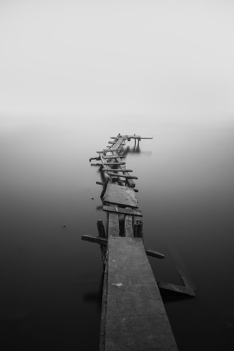 Gray scale photo of dock
