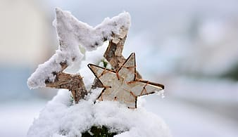 Two snow cover star decor