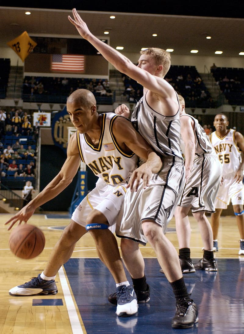Close-up photo of basketball players playing game
