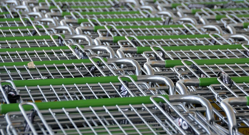 Green-and-gray stainless steel shopping cart lot