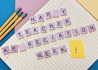 Letters reading happy teacher appreciation week