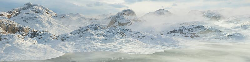 Cliff covered with snow landmark