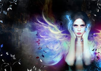 Woman with multicolored wings digital photo