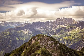 Mountain range with clouds