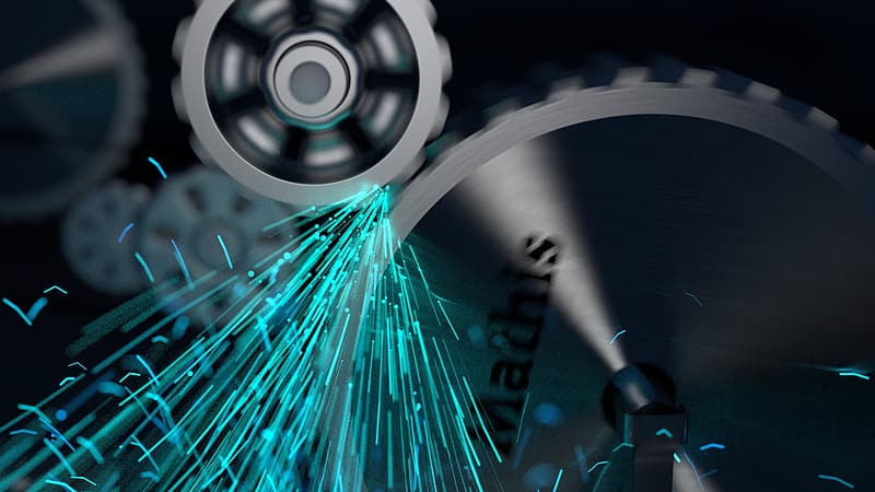 Time-lapse photography of gear with blue sparks
