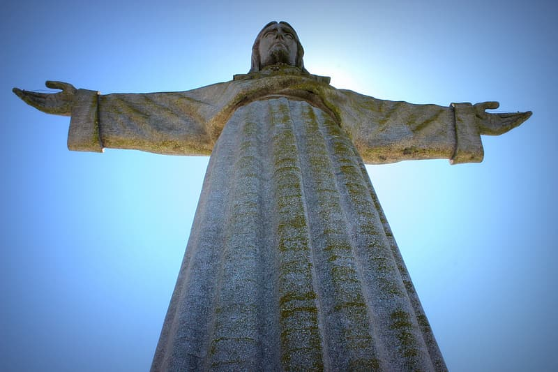 Worm's eye view of Christ the redeemer statue