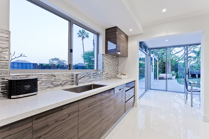 Brown and white kitchen room
