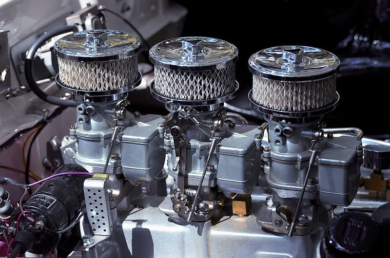 Gray vehicle engine in closeup photography
