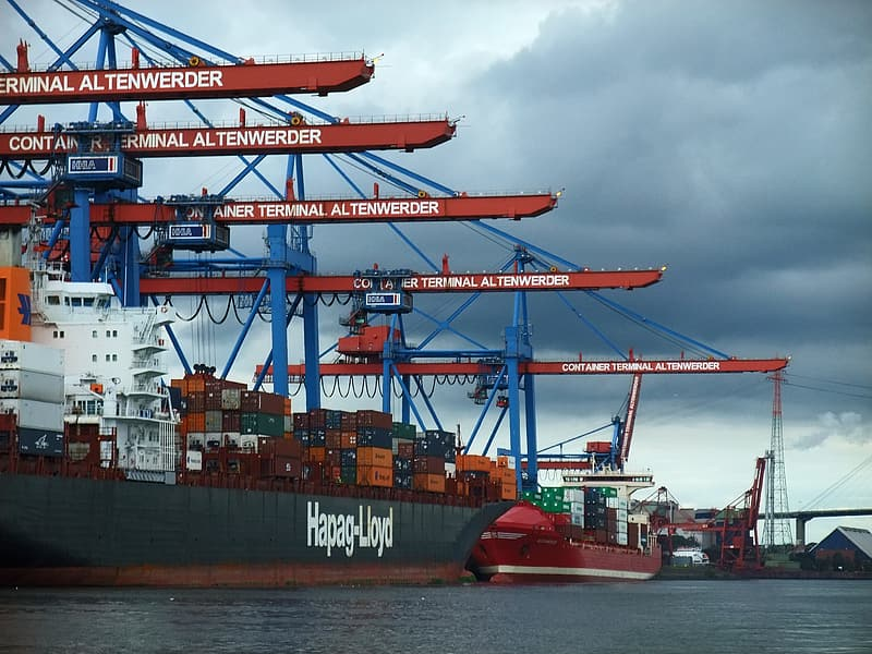 Black and red cargo ship