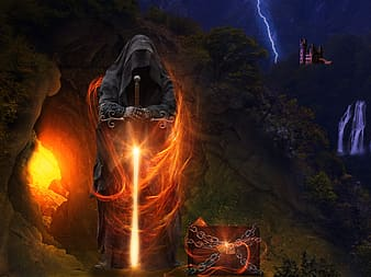 Man wearing black robe while holding glowing red sword beside wooden chest