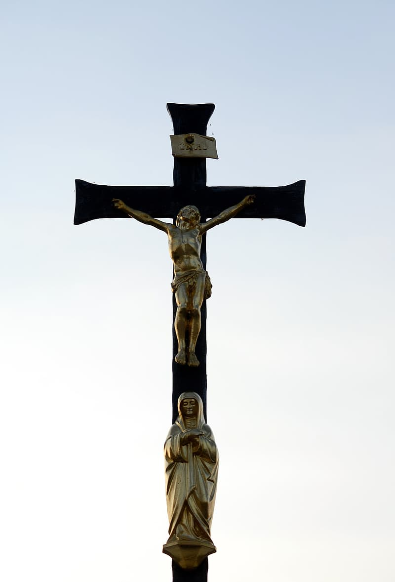 Brown and black crucifix under white sky