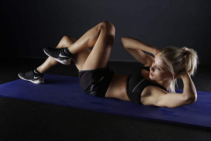 Woman doing exercise gesture