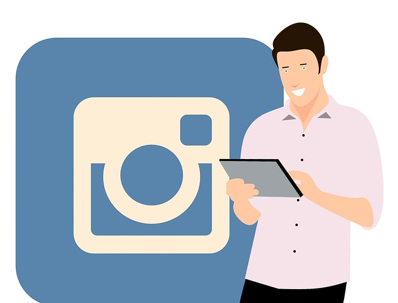 Social media accounts and social marketing promotion with Instagram.